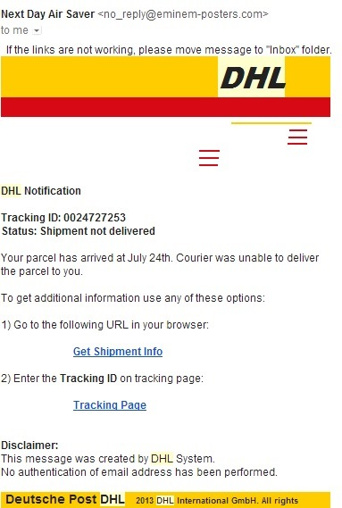 Dhl fake mail